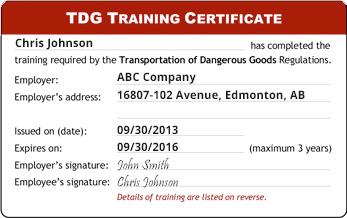 TDG WHMIS Certificate