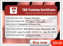 TDG Certificate