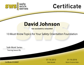 Safe Work Series Certificate Screenshot